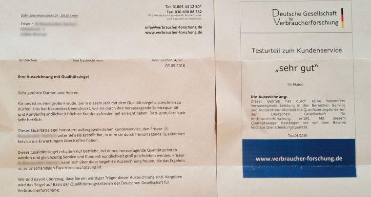 Deutsche Gesellschaft für Verbraucherforschung Auszeichnung Qualitätssiegel Abzocke Betrug Friseur