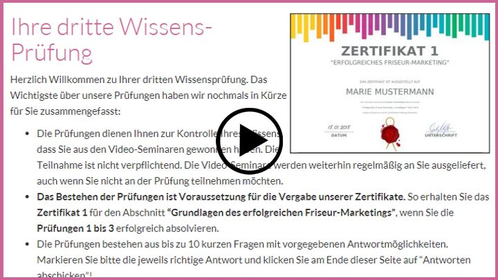 Friseur Marketing Seminar Werbung Video