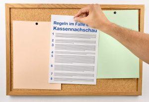 Kassennachschau Kassen-Nachschau Regeln Vorlage Muster Beispiel Aushang