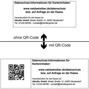 Datenschutz Informationen Karteninhaber Aufkleber Schild Aufsteller Aushang Hinweis QR-Code